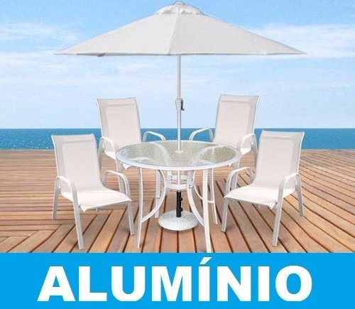 Jogo conjunto de mesa 4 cadeiras aluminio piscina tela for Piscinas de aluminio