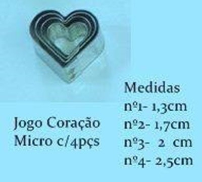 jogo cortador coração micro com 4 peças