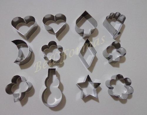 jogo cortador petit four 20 peças p/ biscoito - 2 jogos