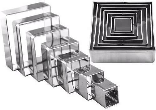 jogo cortador quadrado kit com 7 peças em aço inox