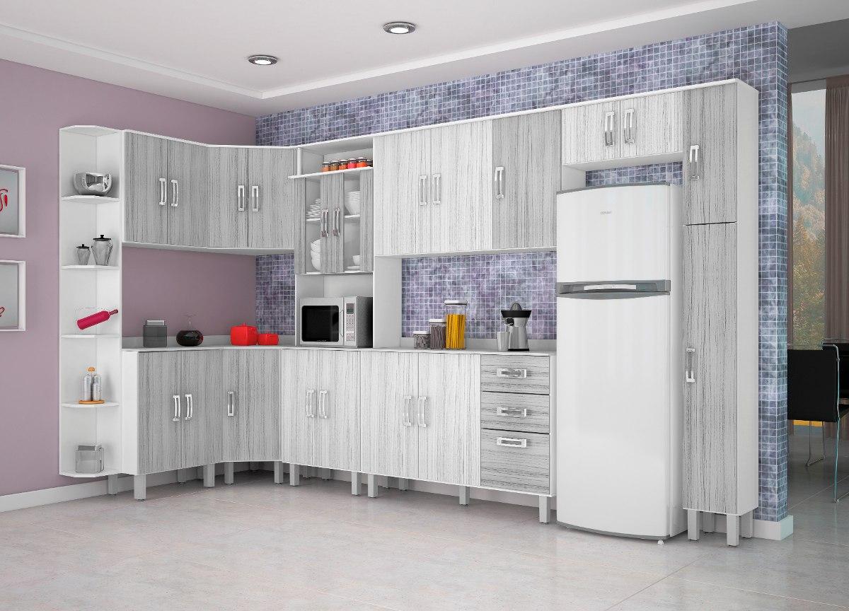 Jogo Cozinha Completa Modulada 10 Pe As Cinza Preto Poliman R