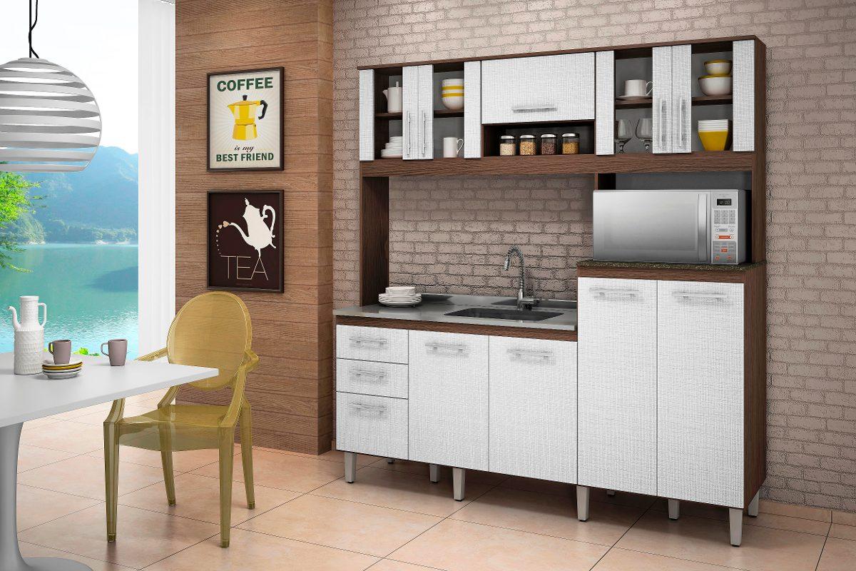 Jogo Cozinha Kit Florata 9 Portas Compacta 100 Mdf Nicioli R 889