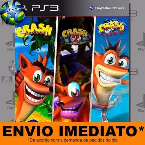 jogo crash bandicoot 1 2 3 ps3 digital psn play 3 envio já