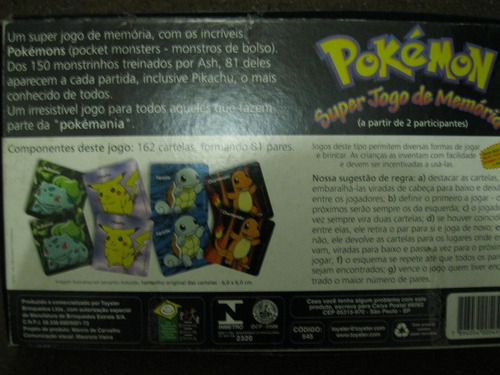 jogo da memória pokemon completo raro estrela na caixa