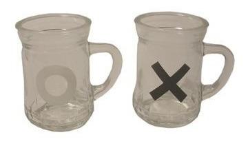 jogo da velha drinks em canecas de vidro tic tac toe gb084