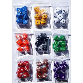 Jogo Dados Rpg 7 Sete Peças D4, D6, D8, D10, D10%, D12 E D20
