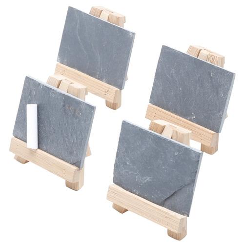 jogo de 4 mini lousas de ardosia com cavalete bambu e giz
