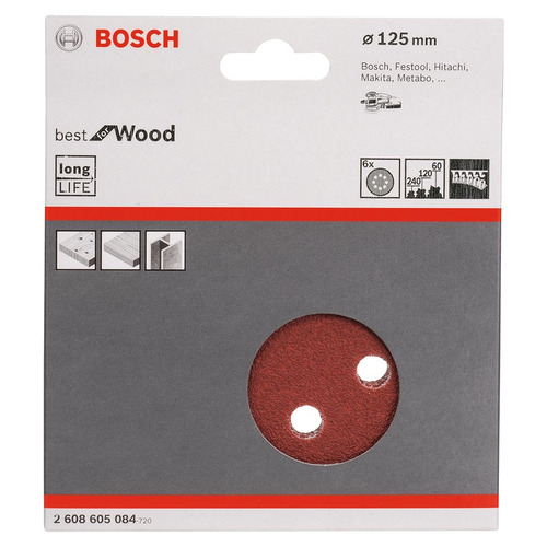 jogo de 6 lixas best for wood  p/ lixadeira excênt. - bosch