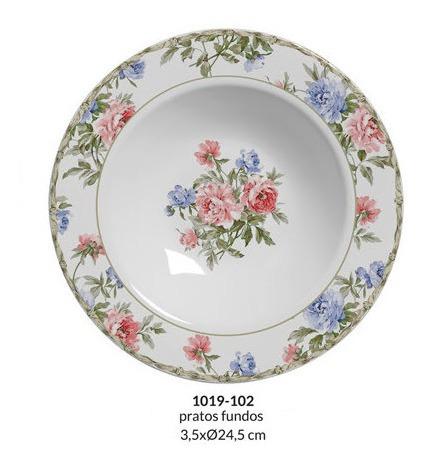 jogo de 6 prato fundo 24,5 cm romântica cozinha