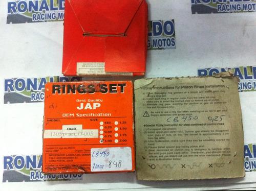 jogo de anel para pistão de cbx  450cc medida 0.75m