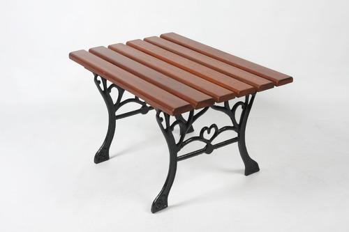 jogo de bancos de jardim madeira e ferro fundido c/ 1 mesa
