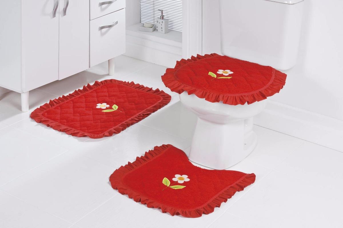 Jogo De Banheiro Amarelo Com Vermelho : Jogo de banheiro p?s vermelho bordado com flores r