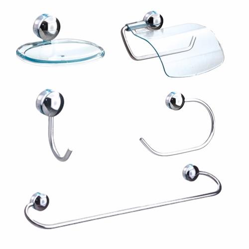 jogo de banheiro acessórios 5 peças metal alumínio  e abs