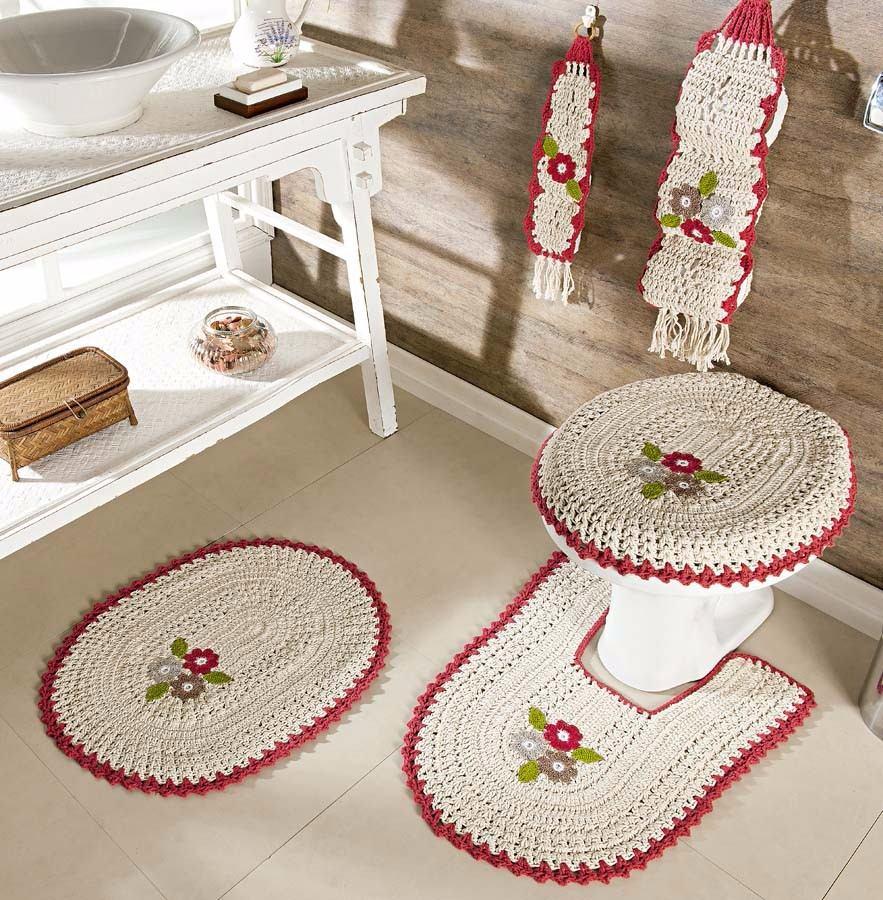 Jogo De Banheiro Completo : Jogo de banheiro completo pe?as croch? mix lar r