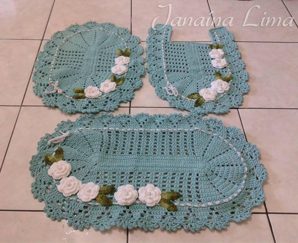 Jogo De Banheiro Azul Em Croche : Jogo de banheiro croch? maravilha verde pe?as r