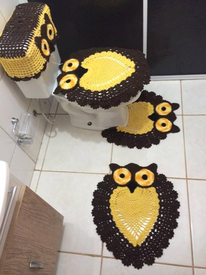 Jogo De Banheiro Marrom E Amarelo : Jogo de banheiro croch? modelo corujinha marrom e
