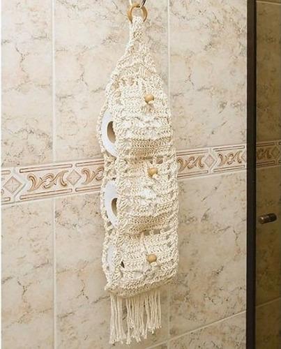 jogo de banheiro em crochê barbante e porta papel