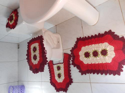 jogo de banheiro em crochê barbante,artesanato,decoração