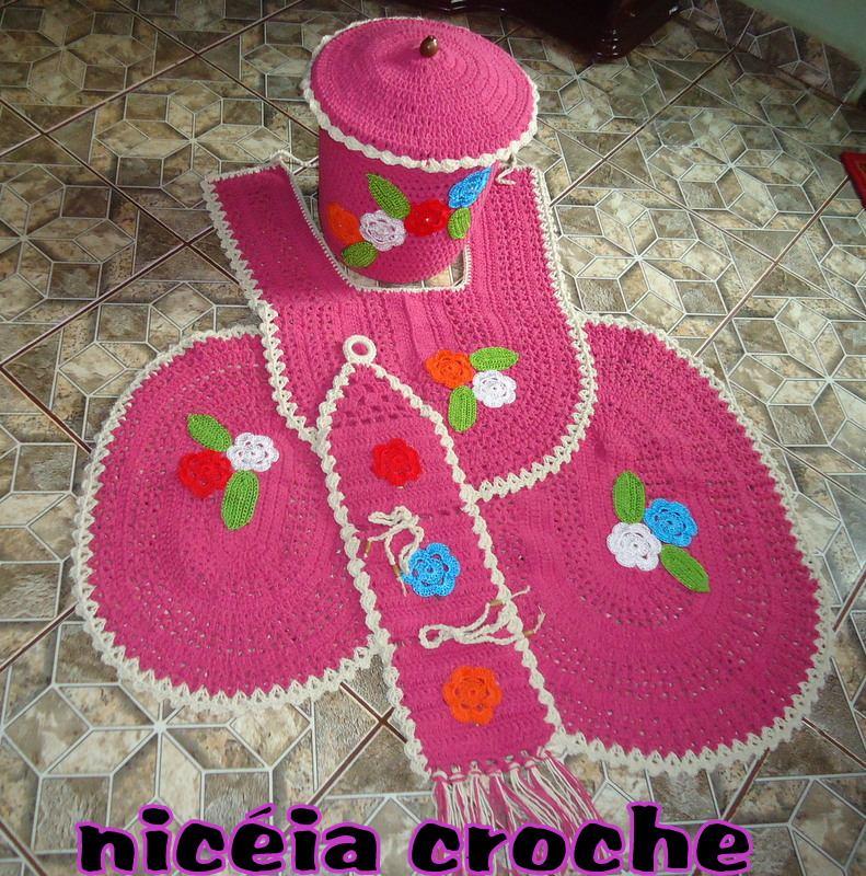 Kit Para Banheiro Artesanato ~ Jogo De Banheiro Em Croche R$ 98,00 em Mercado Livre