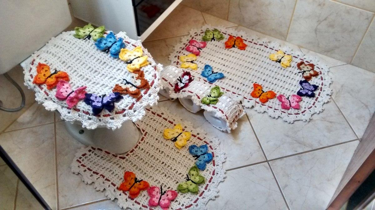 Jogo De Banheiro Em Croche Borboletas  R$ 260,00 em Mercado Livre -> Jogo De Banheiro Simples Em Croche