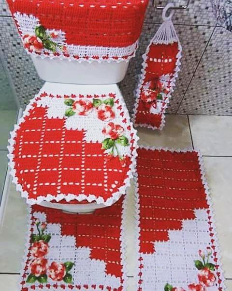 64f25e86f Jogo De Banheiro Em Croche Dual Color - R  180