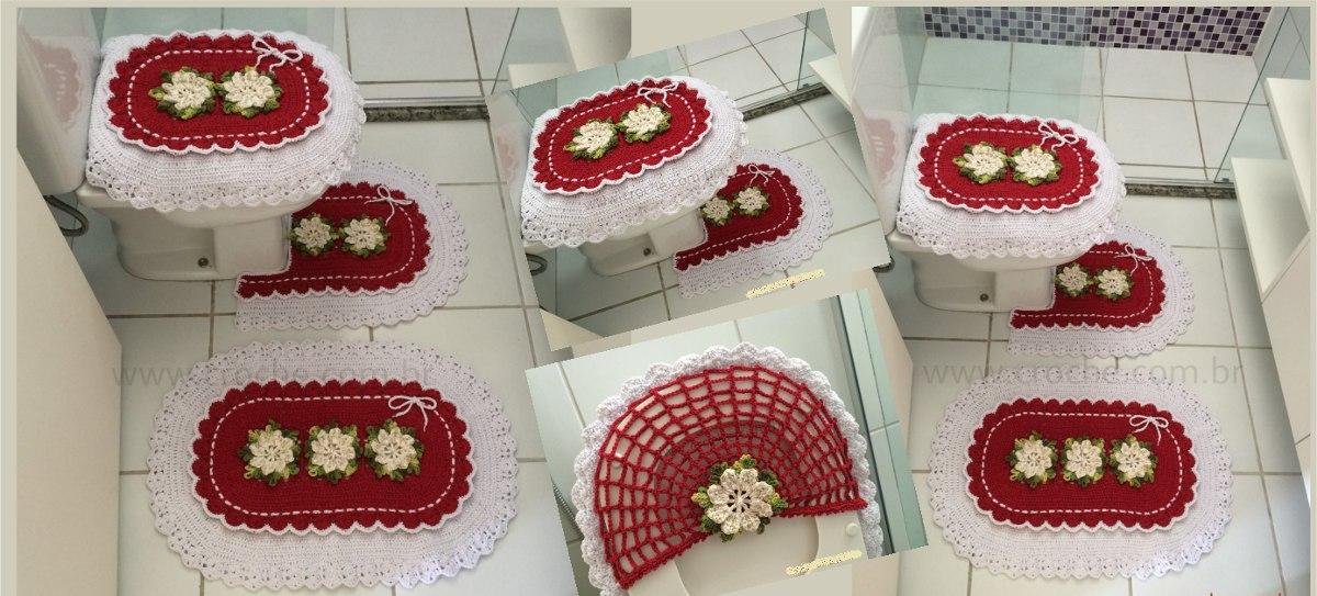 Jogo De Banheiro Em Croche Para Natal Vermelho  R$ 139,99 em Mercado Livre -> Banheiro Decorado Para Natal