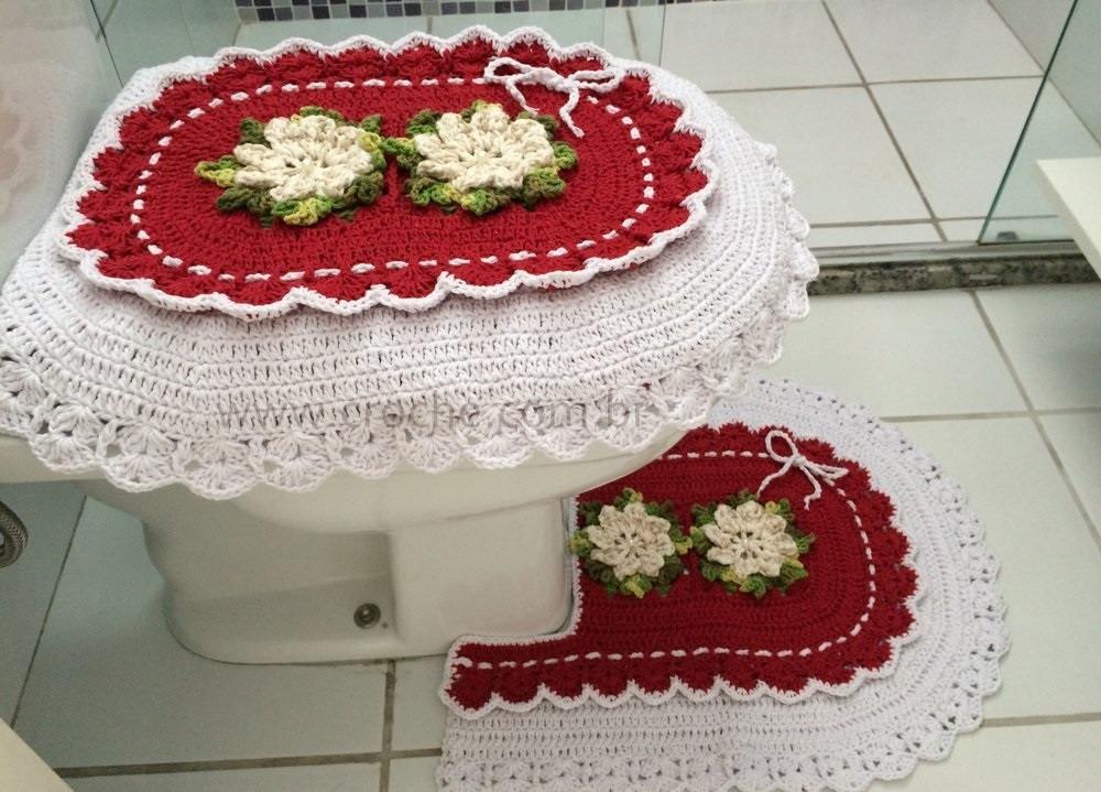 Jogo De Banheiro Amarelo Com Vermelho : Jogo de banheiro em croche para natal vermelho r