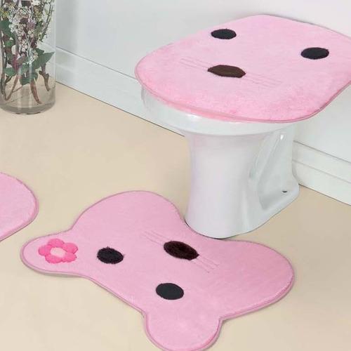 jogo de banheiro infantil gatinha pelúcia