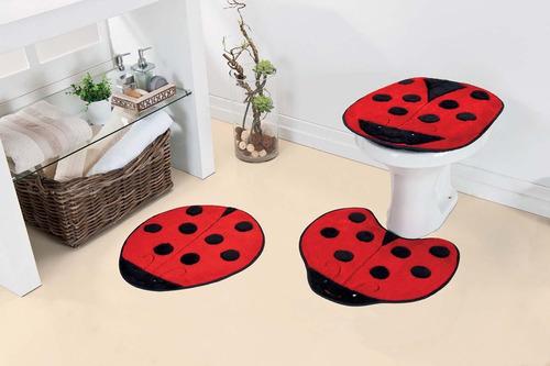 jogo de banheiro joaninha - tapete pelúcia - infantil