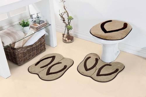 jogo de banheiro meninos chinelo 2 tapetes e 1 tampa de vaso