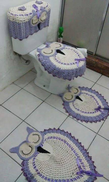 Jogo De Banheiro Tapete Em Crochê Barbante 3 Peças  R$ 142,00 em Mercado Livre -> Jogo De Banheiro Oval Simples Com Grafico