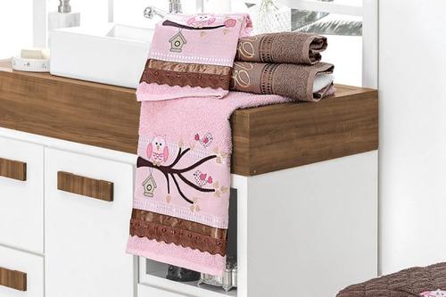jogo de banho harmonia 04 pçs chocolate 100% algodão