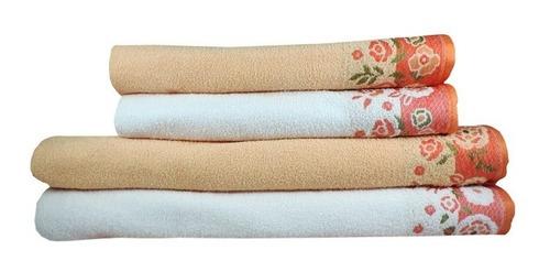 jogo de banho lufamar capricci 4 peças - branca /  apricot