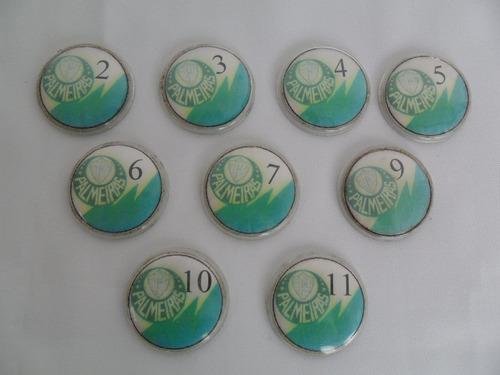 jogo de botão antigo mesa time palmeiras futebol 9 unidades