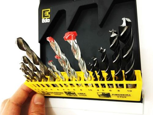 jogo de brocas 16 peças em aço carbono, hss e widea eda-9tg
