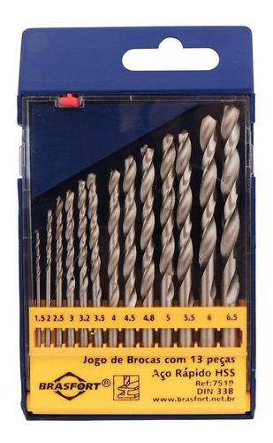 jogo de brocas aço rápido com 13 peças brasfort-7519