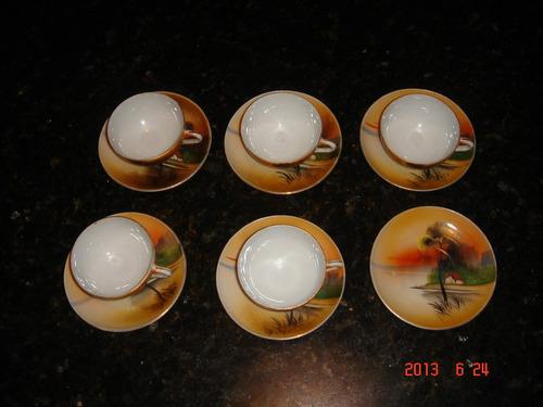 jogo de café casca de ovo japones pintado a mão década de 40