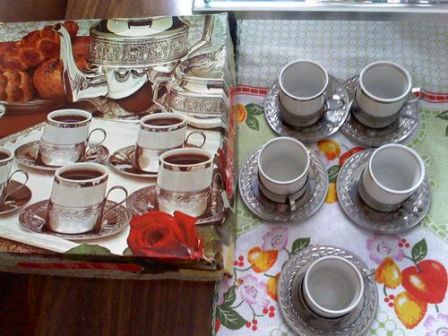 jogo de café com suporte chícara em prata