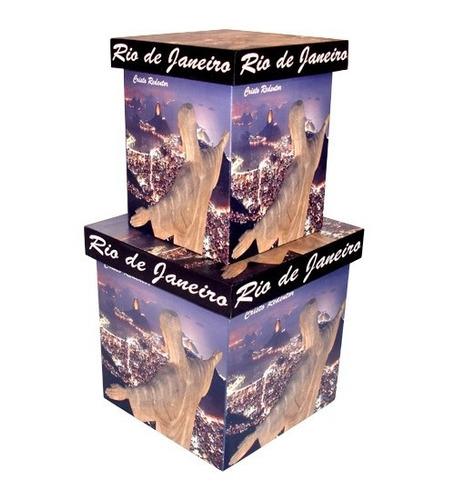 jogo de caixas mdf decorativas organizadoras cristo redentor