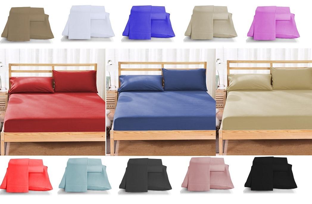b36509357d jogo de cama 3 peças kit com 3 lençol casal liso + 6 fronhas. Carregando  zoom.