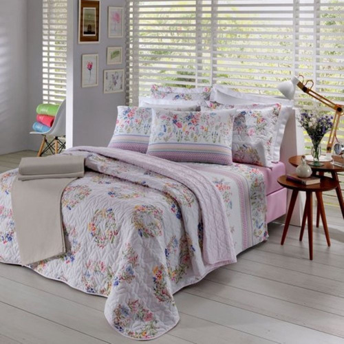 jogo de cama casal bloom 4 peças 150 fios prata santista