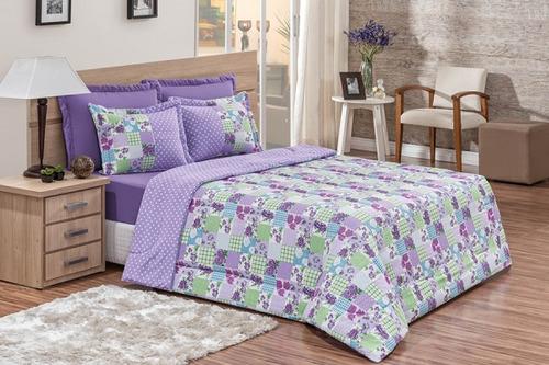 jogo de cama casal kit soneto 5 pçs 50% algodão modelos
