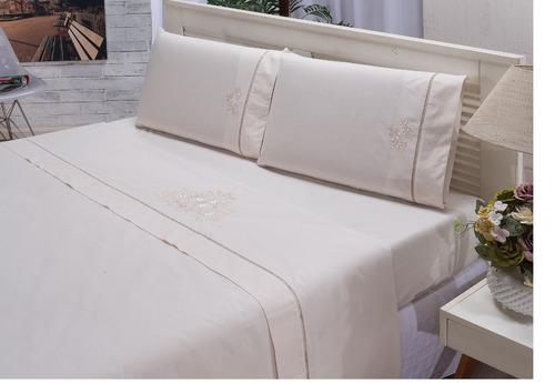 jogo de cama casal padrão bordado percal 150 fios