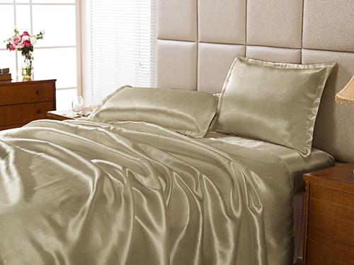jogo de cama cetim casal de seda queen 04pcs alto brilho