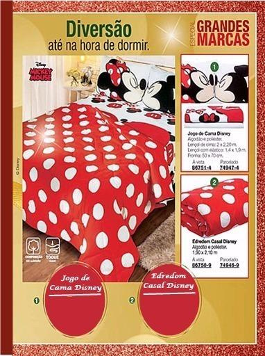 a824bbb021 Jogo De Cama + Edredom Casal Disney Mickey Mouse - R  459