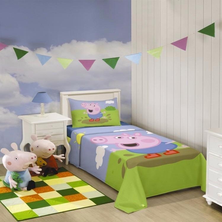 bb03444cd Jogo De Cama Infantil George Pig 3 Peças Lepper - R  89