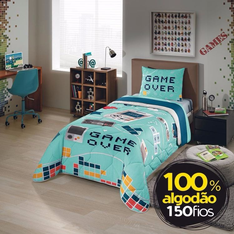 44088421cb Jogo De Cama Infantil Lepper Kids 150 Fios Game - R  146