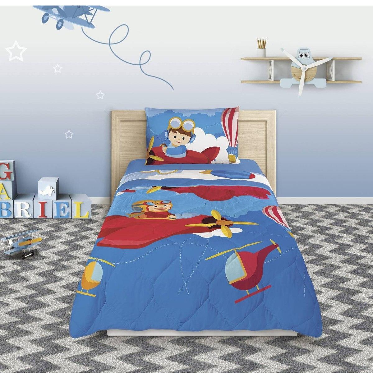 254986f5a jogo de cama infantil piloto 3 peças 150 fios eb. Carregando zoom.