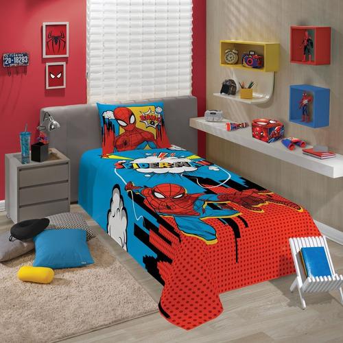 jogo de cama infantil spider man homem aranha 2 peças lepper
