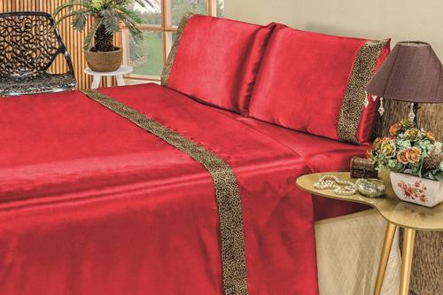 jogo de cama king 4 peças cetim safari - calore enxovais